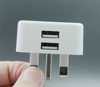 Wholesale Usb Hongkong - For Europe Hongkong Double Worker Mobile Phone Chargers 5V 2-2.4A High Speed Charger For USB AC100-240V Couples Travel