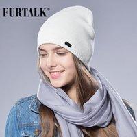 örgülü bere şapkaları toptan satış-FURTALK Sonbahar Kış Izle Kapağı Kadın Yün Örgü Bere Kap Örgülü Şapka S1020
