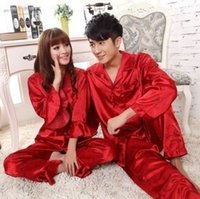 Wholesale Woman Elegant Pajamas - Men women lovers Silk Pajamas Sets 2017 Spring Summer Design Elegant Pajamas sleepwear Wedding Red Clothing