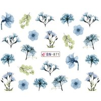 Wholesale green leaf sticker - tickers & Decals 1pcs Daisy Lavender Water Nail Sticker Flower Leaf Design Slider DIY Nail Art Decal Charms Foils Tips Decoration SA...