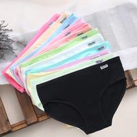 Wholesale lingerie xl girls - Sexy Women's Cotton Underpant Ladies Briefs Underwear Lingerie Low Waist Plain Panties Girl Knickers Solid Soft Casual New