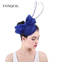 Wholesale royal blue wedding hats for sale - Royal blue women s Bridal  imitation Sinamay Fascinator a8a25edc76b