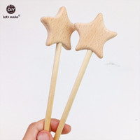 Discount wooden toy teething - Let's Make Baby Toys 10pcs Beech Wooden Star Baby Teething Montessori Toys Waldorf Toy Wooden Teething Play Gym Pendants