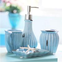 decoração cromada venda por atacado-Moda Retro Acessórios Do Banheiro Exquisite Europeu Oceann Estilo Azul Saboneteira Titular Teethbrush Acessórios de Decoração Do Banheiro