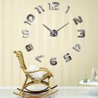 современные самоклеящиеся настенные часы оптовых-muhsein2018 New Home decoration wall clock large wall clock Modern design self adhesive diy sticker unique gift
