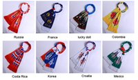 Wholesale Theme Ring - World Cup Football Theme Cheap and High quality World Cup Football Fan Scarves 20pcs Cheerleaders Scarf Mix Wholesale