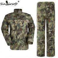 uniforme del ejército camo al por mayor-¡Alta calidad! Mandrake Army camo ropa de caza Tactical Cargo SHIRT + PANTS Uniforme de combate de camuflaje Us Army Airsoft Camo BDU rana traje