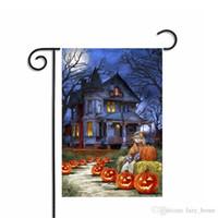 drapeaux de jardin livraison gratuite achat en gros de-Halloween drapeau décoration citrouille crâne drapeaux de jardin drapeaux Halloween 30 * 45cm drapeaux de jardin en polyester décorations d'Halloween livraison gratuite