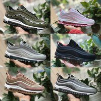Wholesale red checkered shoe laces - 2018 New vapormax 97 Bullet OG Undftd Metallic Gold Grey White Shoes 97s Men women ultra sean wotherspoonUndftds undefeated aIr Off Sneakers