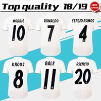Wholesale jersey ronaldo - New Real Madrid home white Soccer Jersey 18 19 Real Madrid away blue Soccer shirt 2019 KROOS RONALDO ISCO ASENSIO BALE Football uniform
