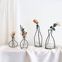 Wholesale Modern Glass Desks - Metal Stand Crystal Flower Vase Plant Holder Iron Stand Holder Wedding Desk Party Decor Without Glass Cup
