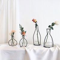 glasblumen steht großhandel-Metallständer Kristall Blumenvase Pflanzen Halter Eisen Ständer Halter Hochzeit Schreibtisch Party Decor Ohne Glas Tasse