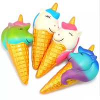 Wholesale ice straps - Jumbo Squishy Gold Unicorn Ice Cream Galaxy Squishies Slow Rising Bread Scented Squeeze Toys Original Package Phone Strap