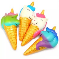 bread packaging venda por atacado-Jumbo Squishy Ouro Unicorn Ice Cream Galaxy Squishies Lento Rising Pão Scented Squeeze Brinquedos Embalagem Original Telefone Strap