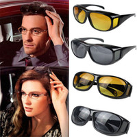 Wholesale lens hd - 200pcs HD Night Vision Driving Sunglasses Yellow Lens Over Wrap Glasses Dark Driving Protective Goggles Anti Glare Outdoor Eyewear GGA124