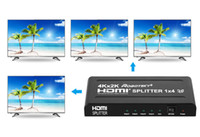 Wholesale NEW x4 HDMI Splitter Ultra HD K K in outputs Full HD D P HDMI for HDTV PS4 PS3 XboxOne DVD Blu ray DTS Digital