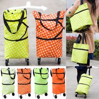 Wholesale shopping trolley bags wheels resale online - Foldable Shopping Trolley Bag Cart Rolling Wheel Home Grocery Storage Bag Handbag Tote Travel Organizer Bags Colors WX9