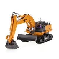 Wholesale rc 16 - HUI NA TOYS NO.1510 2.4GHz 11CH Metal Alloy Engineering Electronic RC Excavator Heavy Machinery Remote Control RC Car Toys