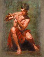 nackter kunstmann großhandel-Handgemaltes HD-Druck-Porträt-Kunst-Ölgemälde nackter starker junger Mann, der Flöte auf Leinwandbüro spielt Wandkunstkultur Multi Sizes p319