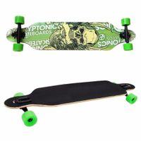 tablero del cráneo al por mayor-Nuevo profesional Canadian Maple Skull Skateboard Road Longboard Skate Board Adult 4Wheels Downhill Street Long Board