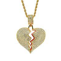 kırık tabaklar toptan satış-Kırık Kalp Kolye Kolye 18 K Gerçek Altın Kaplama Alaşım Kakma Kristal Kolye 60 cm Paslanmaz Çelik Zincir
