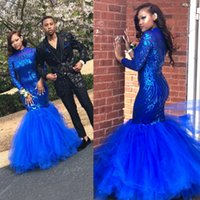 Wholesale high glitz dresses - Glitz Royal Blue Sequined Mermaid Prom Dresses 2018 African Black Girls High Neck Long Sleeves Party Celebrity Gowns Applique Ruched