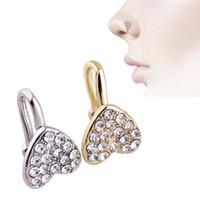 joyas de acero inoxidable piercing al por mayor-Acero inoxidable Minimalista Joyería Amor Nariz Nasal Diamante en forma de corazón Nuevo en forma de nariz Piercing en la nariz Punción humana