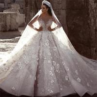 robes de mariée en dentelle achat en gros de-Luxe glamour Dubaï arabe nouvelle mode dentelle robes de bal robes de mariée manches longues fleurs 3D perles robe de mariée robes de mariée BC0151