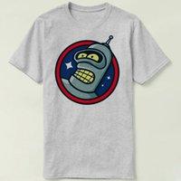 robô cinzento venda por atacado-Espaço profundo camiseta Bender vestido de manga curta Robô engraçado tees de Lazer roupa branca cinza Qualidade algodão Tshirt