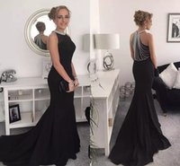 Wholesale Attractive Pictures - 2018 Attractive Black Mermaid Evening Dresses Jewel Neck Beaded Satin Floor Length Prom Dresses Party Evening Gowns