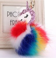Wholesale pony ring resale online - Hot Fluffy Unicorn Pony Keychain Pendant Cute Pompom Artificial Rabbit Fur Key Chain Bag Car Key Ring Hang Bag Jewelry PU Unicorn Key Ring