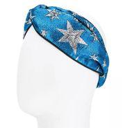 Wholesale New Star Hair - Designer Elastic Headbands for Women 2018 New Luxury Brand Blue Star Cross Turban hairband Streetwear Hair Jewelry Gifts