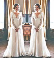 6a2443718c6 Греческая богиня стиль свадебное платье с длинным рукавом глубокий V шеи  течет шифон длина пола изящные свадебные платья Vestidos де Noiva на заказ