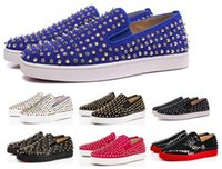 Wholesale cheap flat loafers men - Cheap Red Bottom Sneakers Casual Shoes Mens Womens Low White Designer Full Spikes Roller Boat Flats Skateboard Loafers Unisex Man Woman Shoe