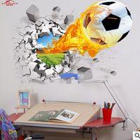 futbol yatak odası dekor toptan satış-3d duvar çıkartmaları sıcak satış futbol topu futbol Vinil Duvar Çıkartması çıkartmaları çocuklar için Spor Boy odaları yatak odası Art decor