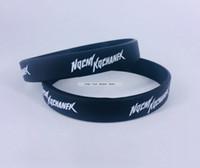 ingrosso bianco braccialetti personalizzati-Caldo blu scuro Logo personalizzato stampa serigrafica promozione braccialetti in silicone logo bianco impronta braccialetto regalo economico
