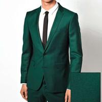 Wholesale Men Evening Suits - 2018 Green Evening Party Men Suits Groom Wear Blazer Two Piece Notched Lapel Wedding Groomsmen Tuxedos (Jacket + Pants)