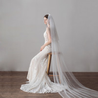 Wholesale long two tier veil for sale - Group buy 2018 New Long Bridal Veil With Cut Edge Two Tiers Tulle Hotselling Wedding Veil Cathedral Length BW V615