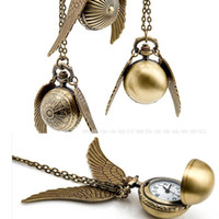 Wholesale Harry Necklace - New Harry Golden Snitch Pocket Watch Antique Bronze Wing Ball Pendant Necklace Chains Potter Fashion Jewelry Fans Gift
