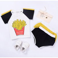 Wholesale French Style Clothes - French Fries T-shirt Shorts Clothing Sets Short Sleeve Triangular Shorts Chips Cartoon Printed Pure Cotton 1-4T
