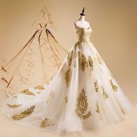 765ddee94a New Sleeveless Strapless Sweetheart Golden Lace Applique Ball Gown Wedding  Dress Bridal Dress
