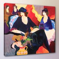 Wholesale tarkay oil painting - Itzchak Tarkay Woman Lady Cafe Party Portraits Art,Handpainted  HD Print Wall Art Oil Painting On Canvas.Multi Custom Sizes  Frame It21
