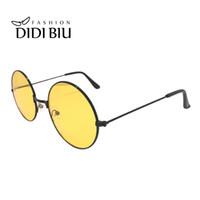 Wholesale round sunglasses hipster for sale - Group buy Night Driving Yellow Lens Glasses Anti Glare Vision Car Driver Sunglasses Round Hipster Safety Circular Punk Eyewear Gafas UL993