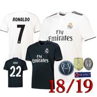 Wholesale real hot - Hot 2018 2019 Real madrid soccer Jersey 2018 19 new RONALDO home white away black BALE RAMOS ISCO KROOS 18 19 football shirts
