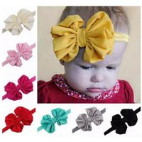 Wholesale yellow headbands for children - baby chiffon headbands for girls fashion hair bows kids boutique hair accessories children elastic hair bands big bowknot headwear wholesale