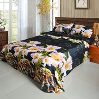 Wholesale queen size tiger bedding online - H15500US D Printed Bedding Set Bedclothes Tiger and Lily Flower Queen Size Duvet Cover Bed Sheet Pillowcases