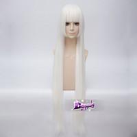 ingrosso trasporto libero di lolita cosplay-100CM Lolita bianca lunga parrucca Cosplay Anime dritto con frangia spedizione gratuita
