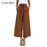 ingrosso cravatte marrone casual-ZADORIN New Fashion Allentato Bow Tie vita alta pantaloni gamba larga Solid Black Brown Pantaloni donna Steetwear Palazzo Pants