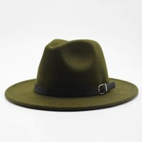 Wholesale american wide brim hat resale online - Winter Autumn Imitation Woolen Women Men Ladies Fedoras Top Jazz Hat European American Round Caps Bowler Hats