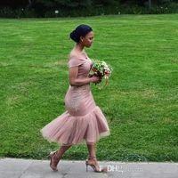 Wholesale tea length cocktail wedding dresses - 2018 Bridesmaid Dresses Off The Shoulder Mermaid Lace Applique Tea Length Wedding Guest Maid Of Honor Gowns Short Cocktail Dress BA9508